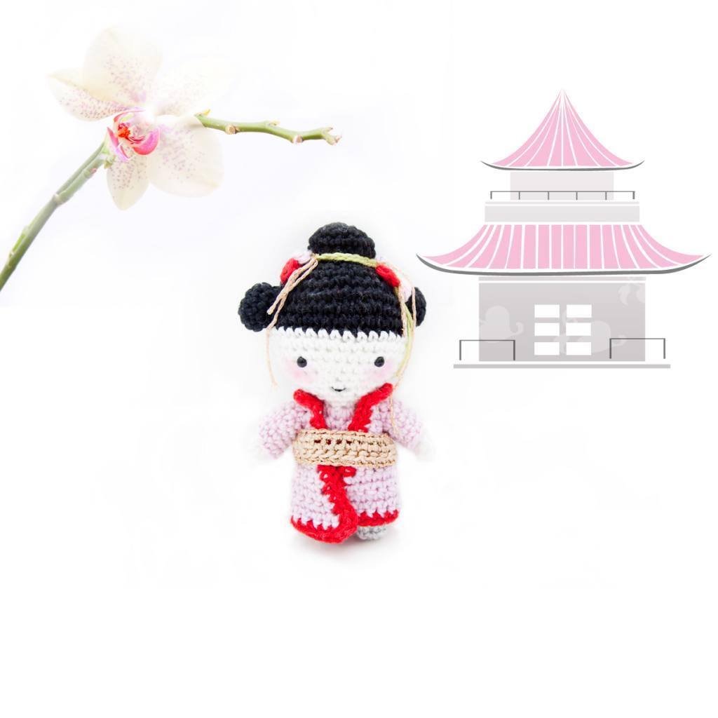 Crochet Geisha minimeu doll pattern
