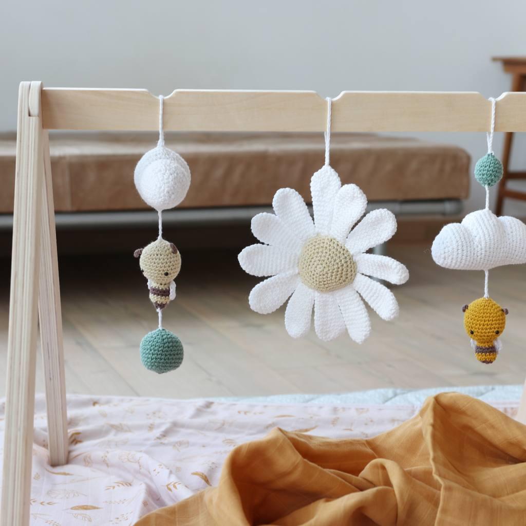 Crochet baby gym toys